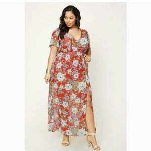 {Forever 21} Plus Semi Sheer Floral Maxi Dress